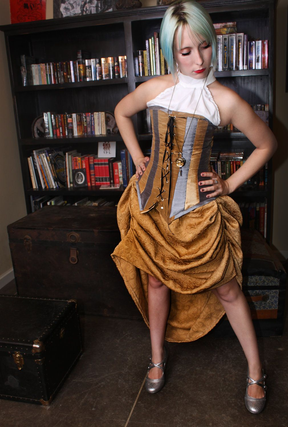 (ideas for Steampunk costume..draping for skirt)  Steampunk Skirt - Golden with drawstring waist. $49.00, via Etsy.