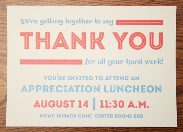 Appreciation Luncheon Invitation by Brian Hodges, via Behance - dinner party invitation sample