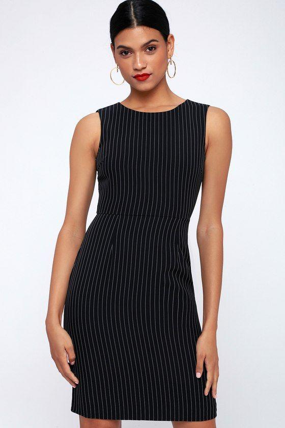 You Better Work Black Pinstripe Sleeveless Sheath Dress – Lulus #blacksleevelessdress