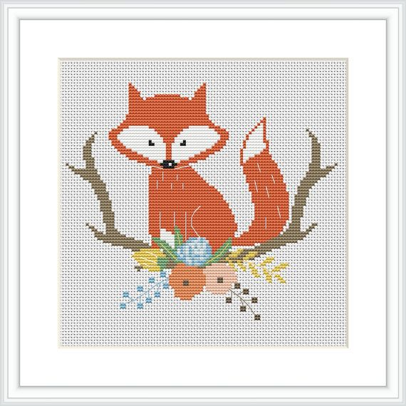 Fox cross stitch pattern Baby Cross Stitch Pattern Modern Cross ...