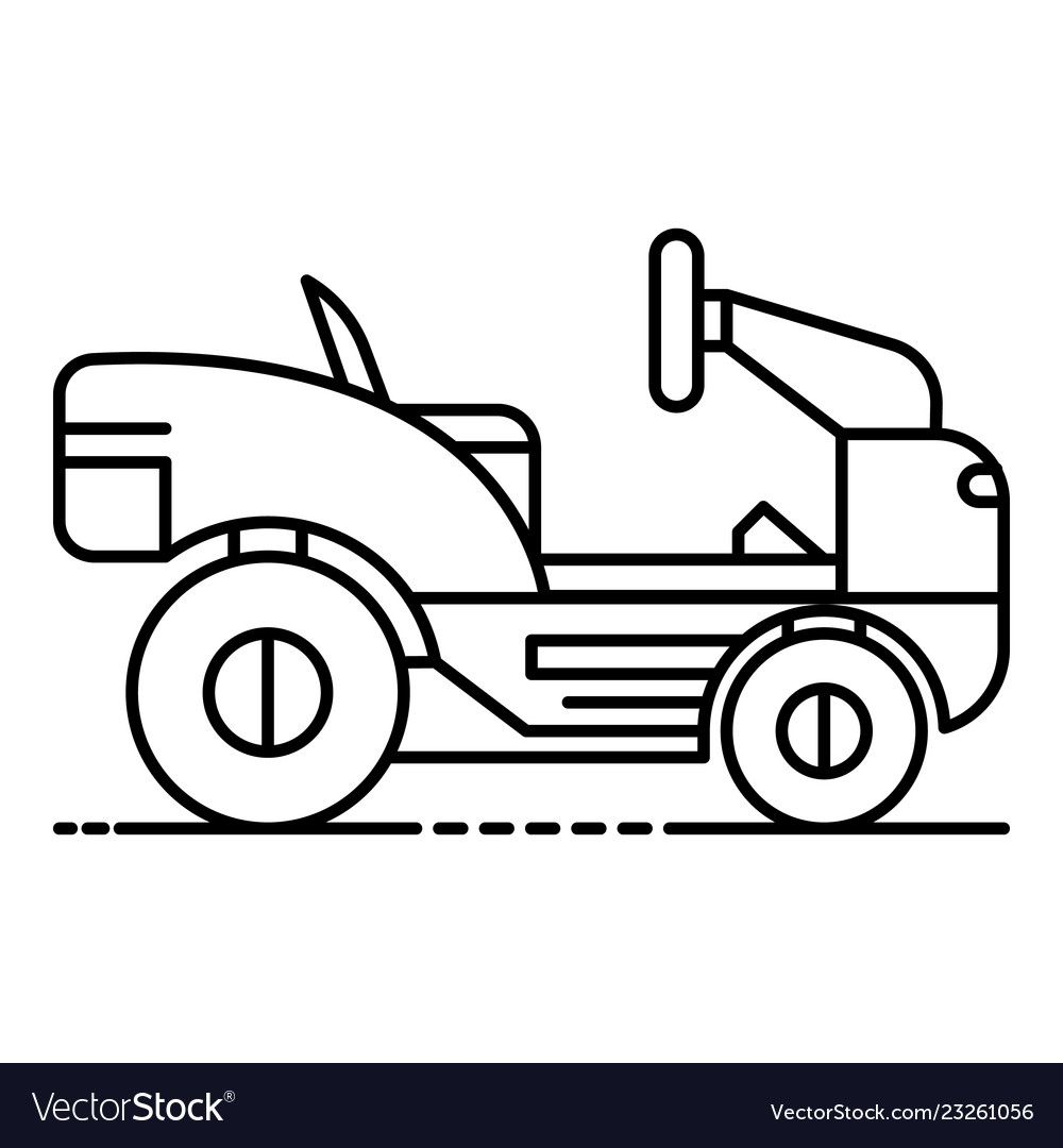 Lawn mower tractor icon outline style vector image on