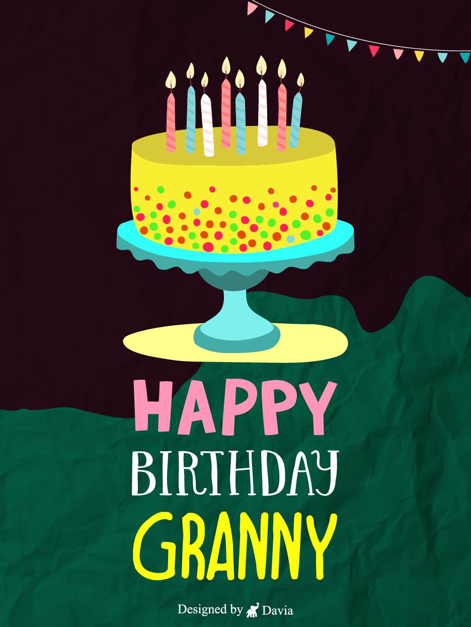 Cake For Granny Happy Birthday Grandmother Cards Birthday Greeting Cards By Davia Grandma Birthday Card Birthday Greeting Cards Happy Birthday