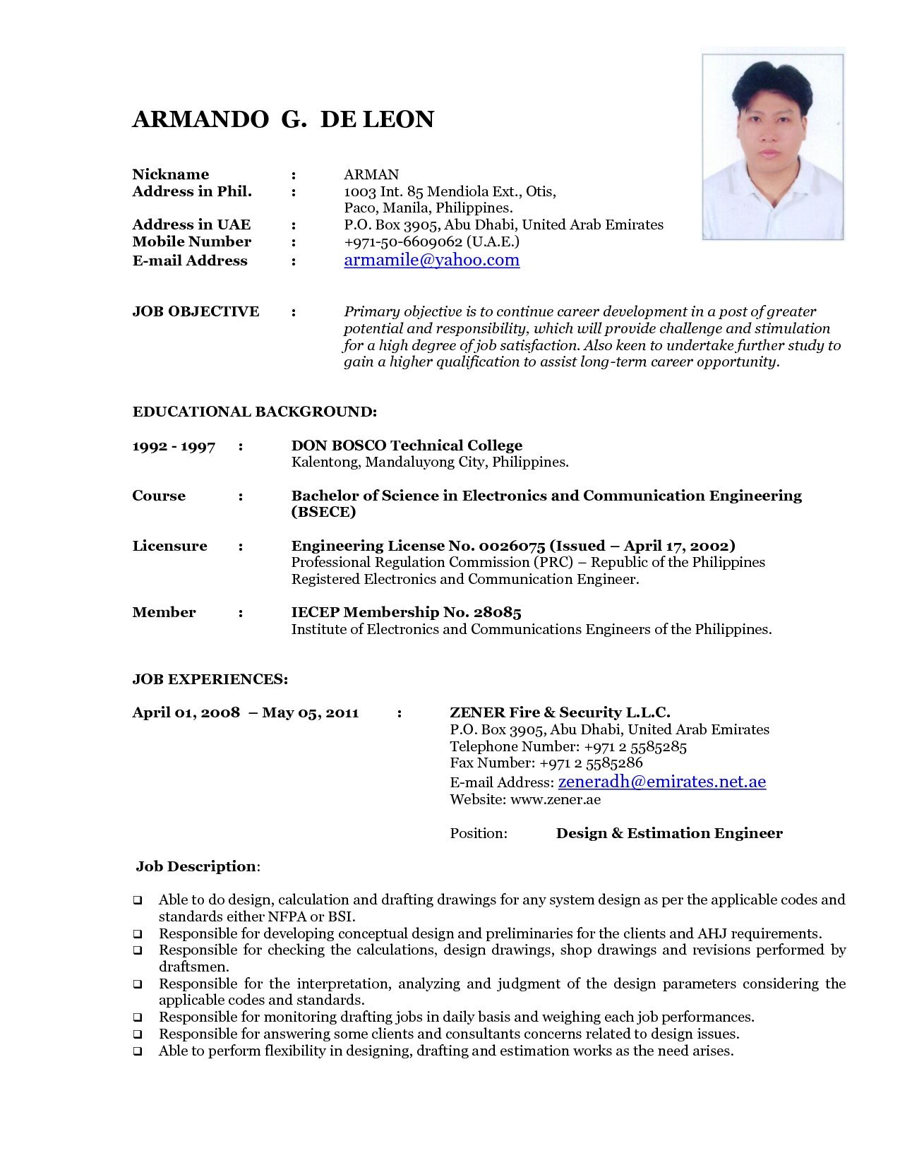 Resume Format For Applying Job In Dubai
