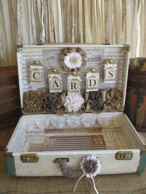 Vintage Suitcase For Rustic Wedding Card By Theshabbychicwedding