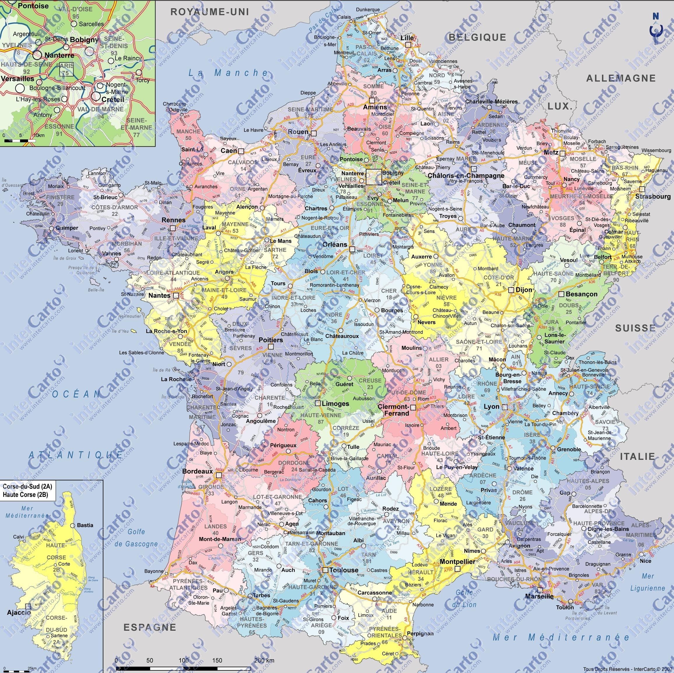 Useful If Cluttered Large Map Carte De France