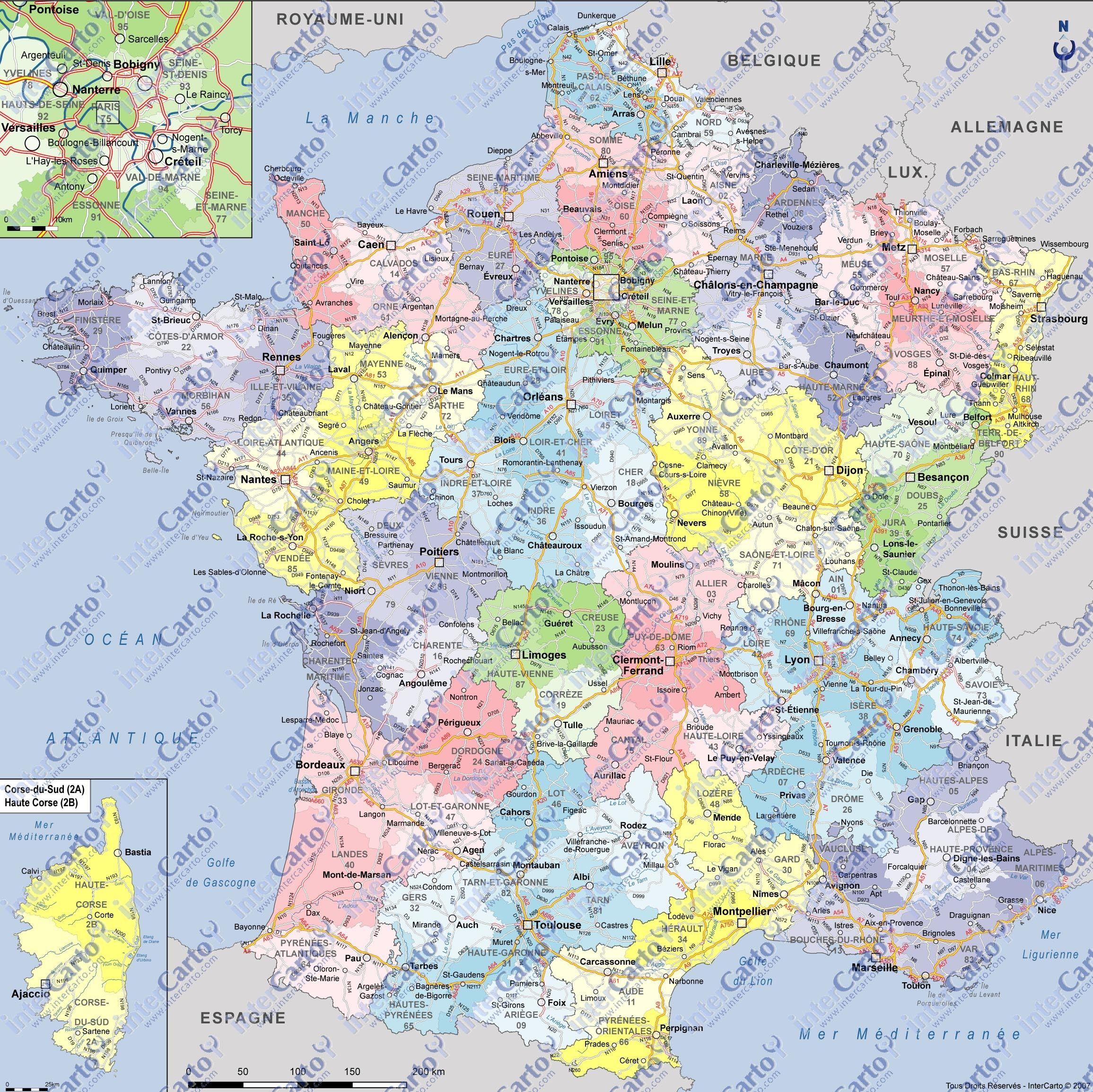 carte de france département et ville Useful if cluttered large map | Carte de france département, Carte