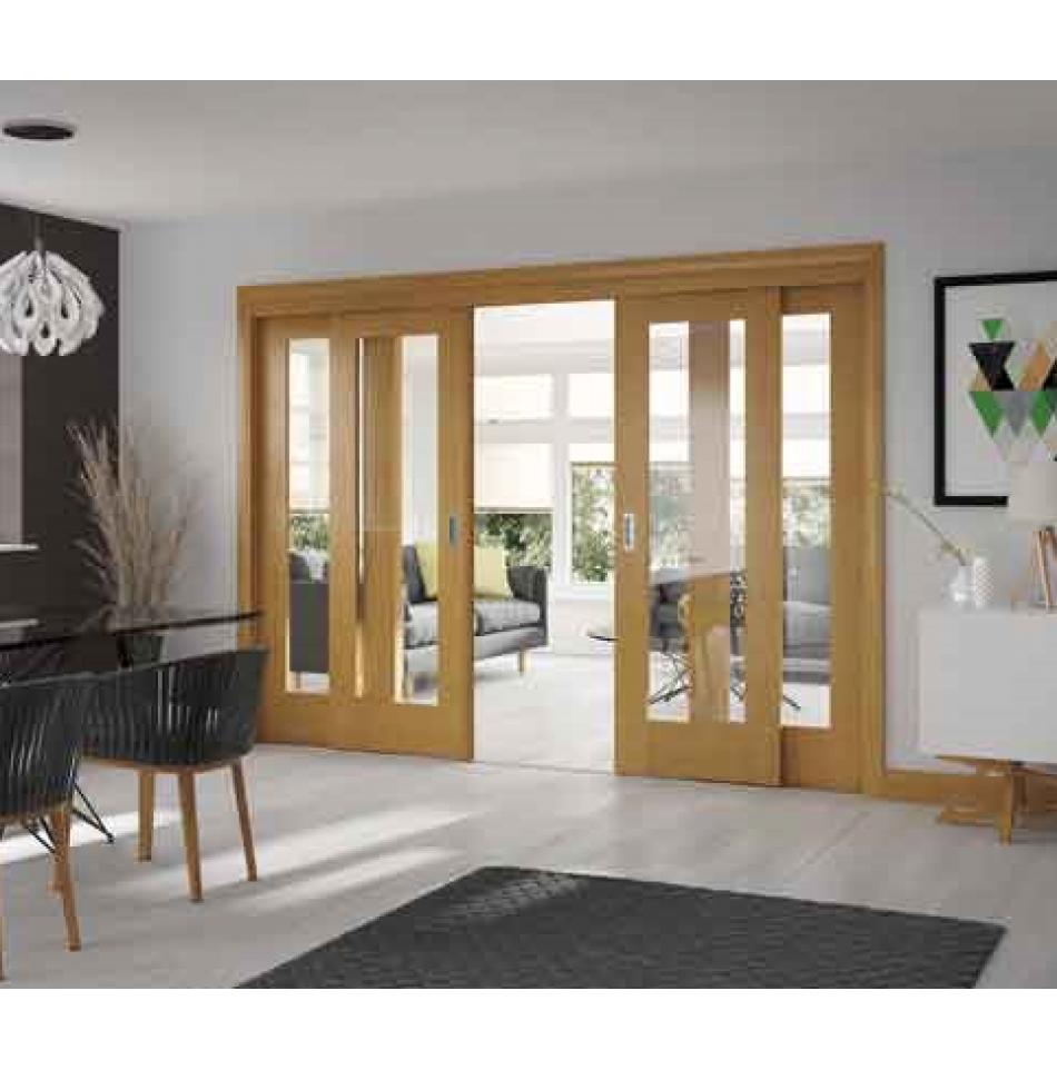 Easi slide oak frame for sliding french doors frame only living