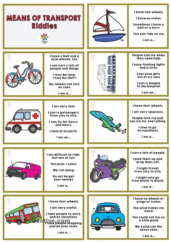 Means of Transport RIDDLES DOMINOE Riddles