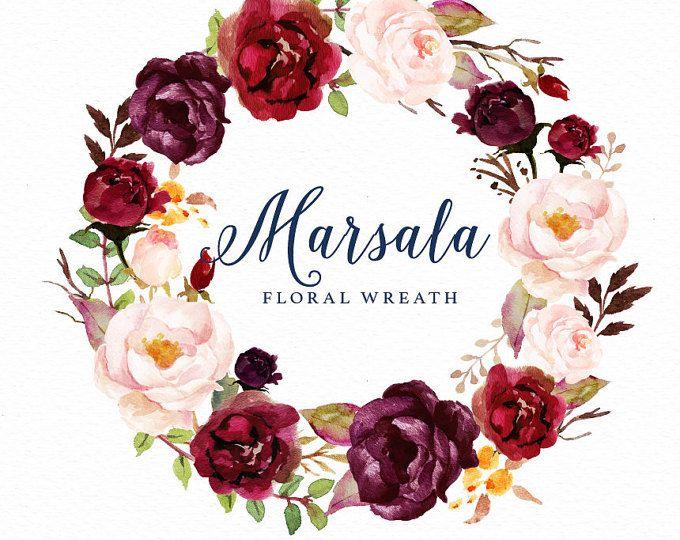 Watercolor Floral Wreath Marsala Individual PNG Files Hand Painted Wedding Design Bohemian Boho Rustic