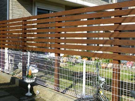 お庭の目隠し 木製サーモウッドフェンス 料金例 グリーンケア