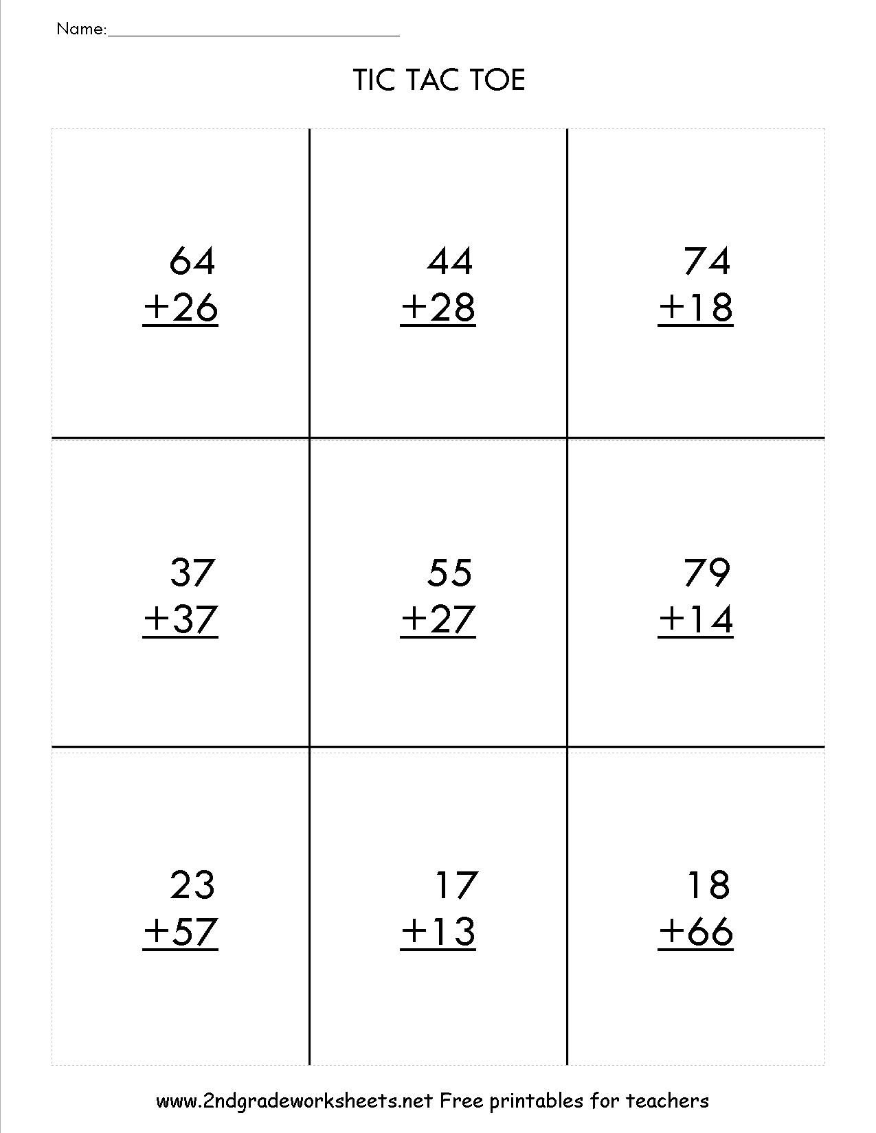 worksheet Addition And Subtraction With Regrouping two digit addition with regrouping tic tac toe game satta game