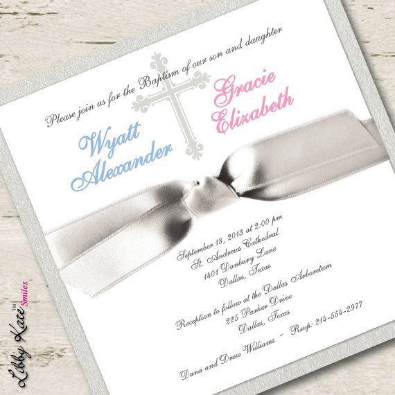 twin baptism invitation twin christening invitation boy and girl