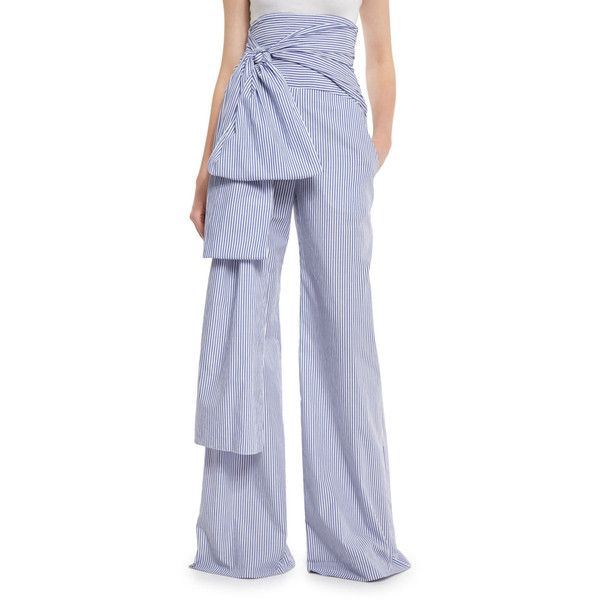 Pleated Cotton-Blend Pants with Sash BeltRosie Assoulin
