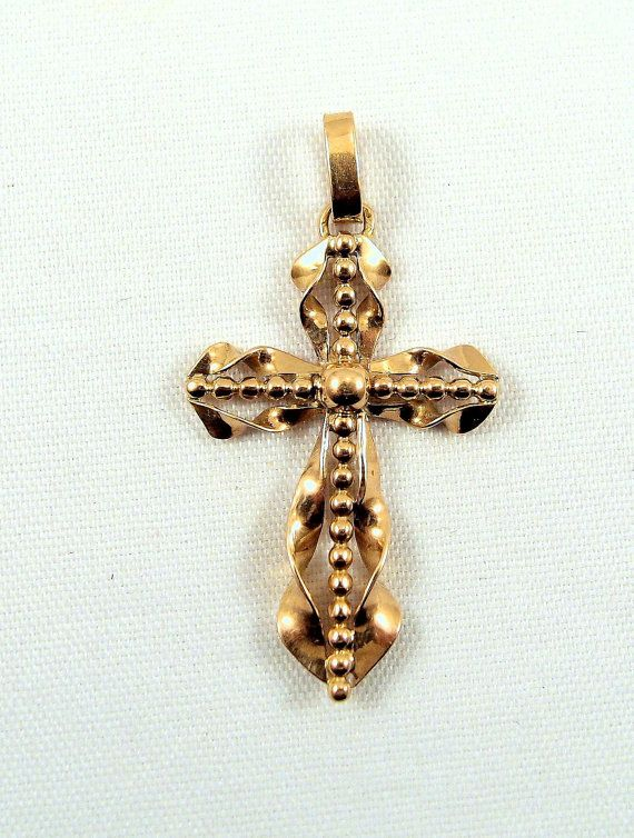 Stamped 18K solid gold cross stamped religious gold pendant