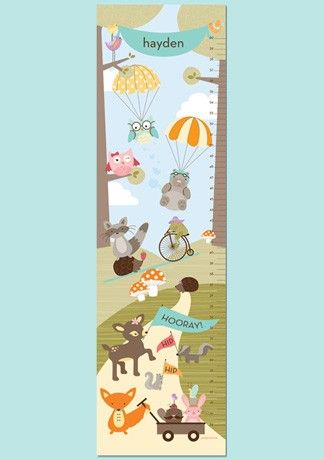 Personalized Paper Growth Chart Woodland Fun Aqua By Petitelemon