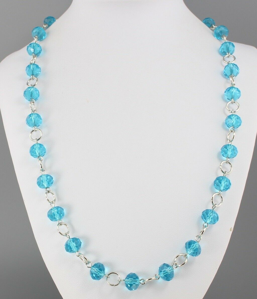 Elegant Blue Glass Crystal and Sapphire Briolette Necklace