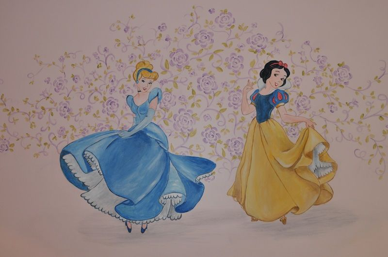 Cinderella and snow white wall mural the characters can for Cinderella wall mural