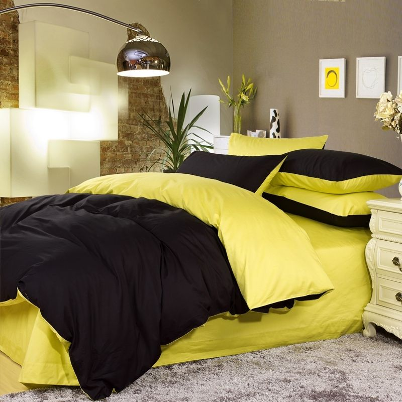 Black And Yellow Colored Full Queen Size Bedding Sets With