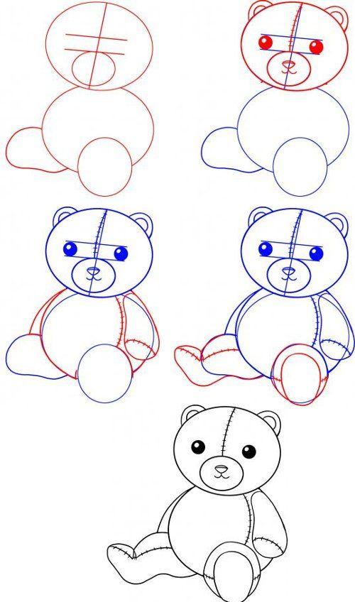 Картинки медвежонка по этапно