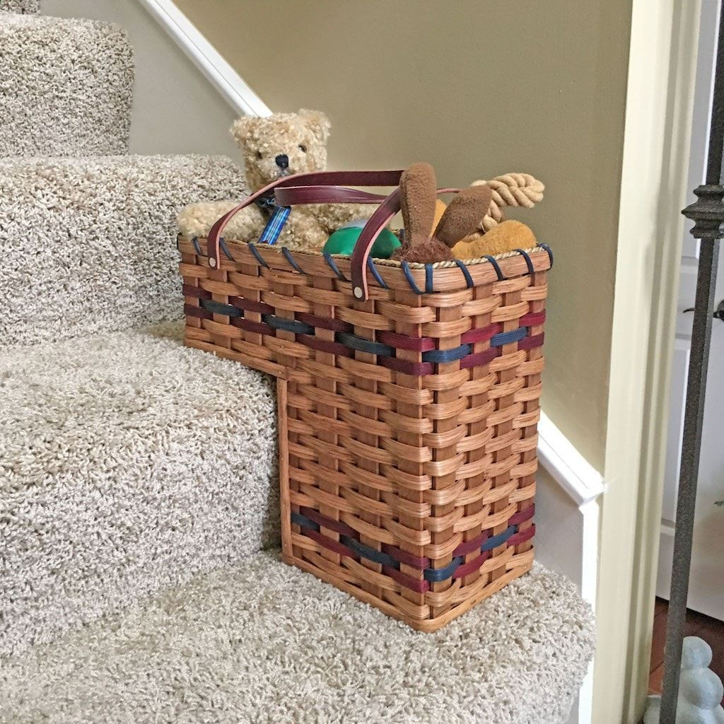 """Stair Step Storage amish made small stair step basket - for up to 7 1/2"""" stairs"""