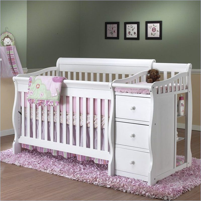 Sorelle Tuscany 4 in 1 Convertible Crib and Changer Combo in White