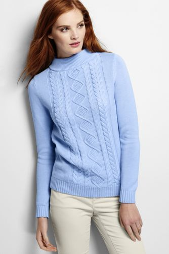 02735c31ce87 Women's Drifter Cable Mock Neck Sweater from Lands' End | threads ...