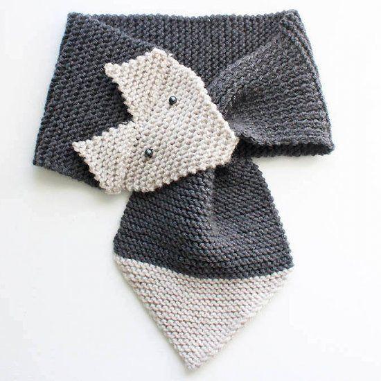 FOX SCARF KNITTING PATTERN Beginner knitting pattern for a cute fox ...