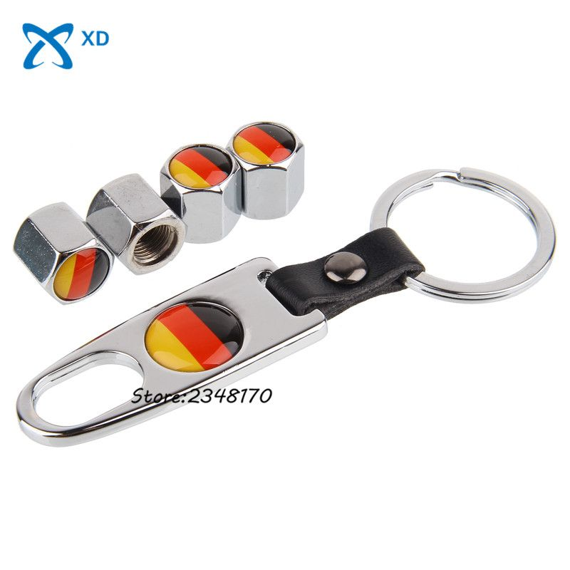 Car Styling Steel Wheel Tire Valve Stems Caps Stainless With Wrench Keychain For Germany Flag Logo For Mazda Bmw Renault Silver Car Valve Stem Caps Car Tires