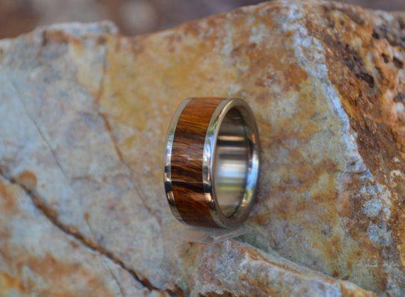 Titanium Wood Ring Desert Iron Wood Band Custom by usajewelry