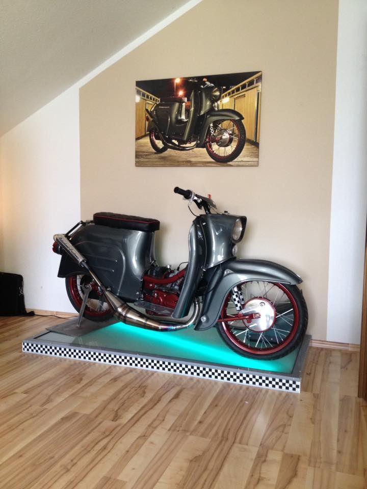 sch nen langen auspuff simson mz schwalbe moped. Black Bedroom Furniture Sets. Home Design Ideas