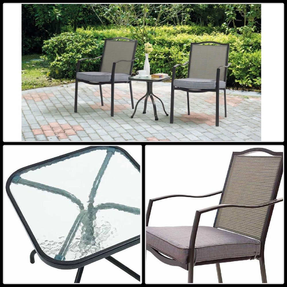 outdoor cafe table and chairs. 3 Piece Outdoor Bistro Set Glass Table Chairs Yard Garden Cushioned Furniture Cafe And