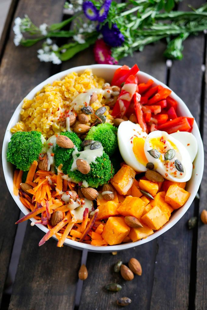 Rainbow Buddha Bowl mit Süßkartoffeln, Linsen, Brokkoli und Tahini-Dressing #whole30recipes