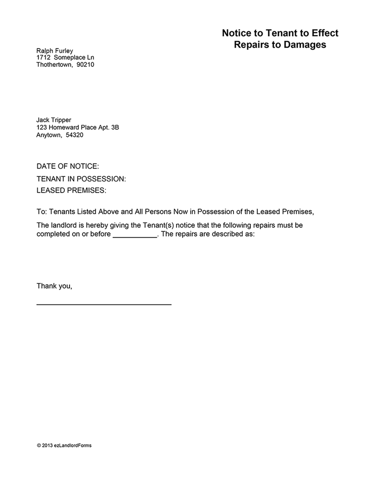 Notice To Tenant To Repair Damages Ez Landlord Forms Http Gtldworldcongress Com Free Printable Rental Agreement