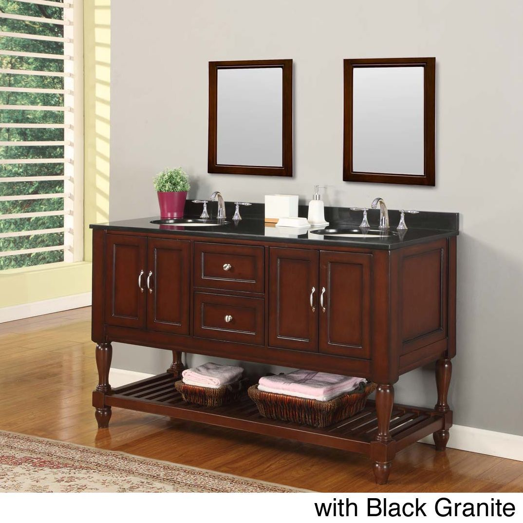 Direct Vanity Sink 60 Inch Mission Turnleg Dark Brown Double Black Granite With 2 Mirrors Size Vanities