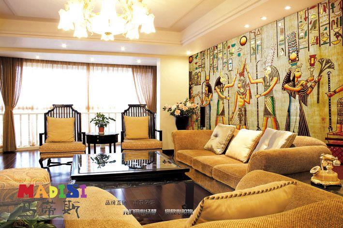 Wallpaper For Living Room 2013 egypt vintage wallpaper oil painting,mural tv wall, living room
