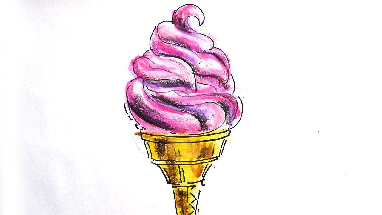 как нарисовать рожок мороженое за 1 минуту урок рисования