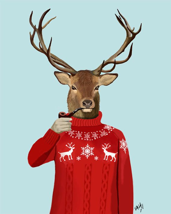 Deer Art Print Deer Canvas Art Print Deer In Ski Sweater