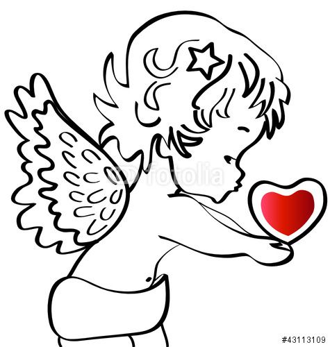 Angel With A Heart Vector Stock Stock Image And Royalty Free Vector Files On Fotolia Com Pic 43113109 Vector Free Lotus Flower Logo Heart Drawing