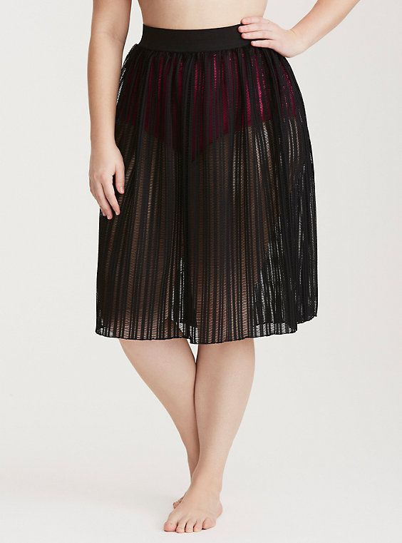 02528a1bc0 Plus Size Crochet Midi Swim Cover Up Skirt