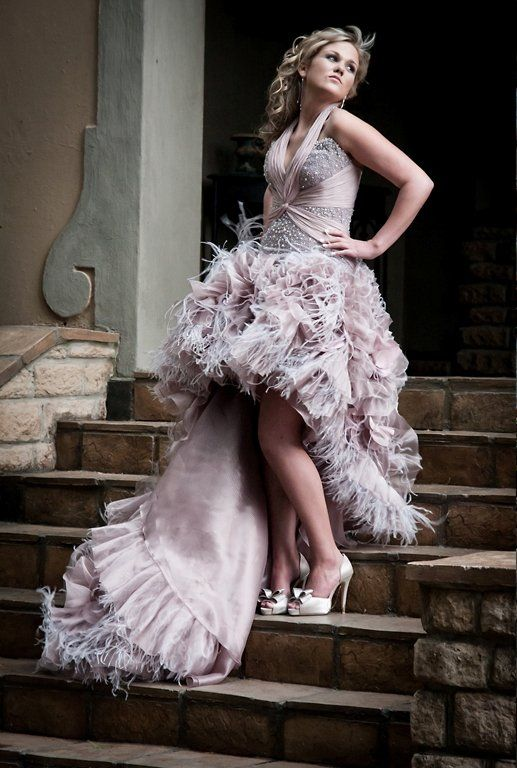 Elegant And Also Playful Ostrich Feather Prom Dress Ostrich