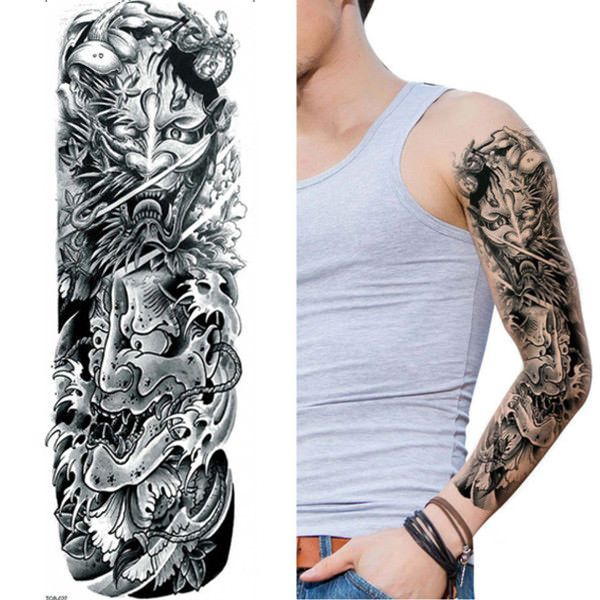 Black Henna Tattoo Uk: Tibetan Tribal Black Full Arm Temporary Tattoo Sleeve Body