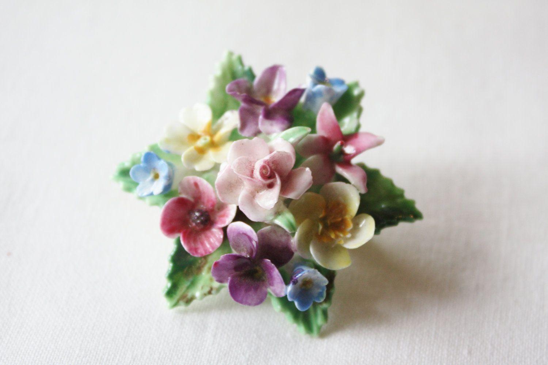 Porcelain floral brooch by crown of staffordshire england porcelain floral brooch by crown of staffordshire england buycottarizona