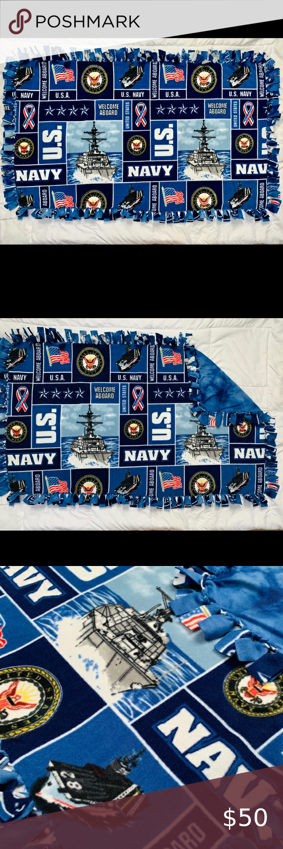 Photo of Navy Tie Dye Fleece Knot Blanket Soft, cozy, and perfect for baby gifts!  SIZES:…