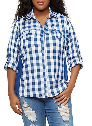 e22acf4f Plus Size Plaid Button-Down Shirt with Ribbed Knit Side Panels ...