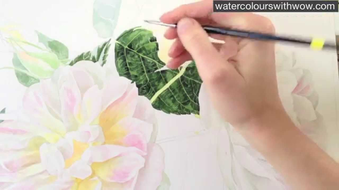 How To Paint A Realistic Rose Leaf In Watercolor By Anna Mason