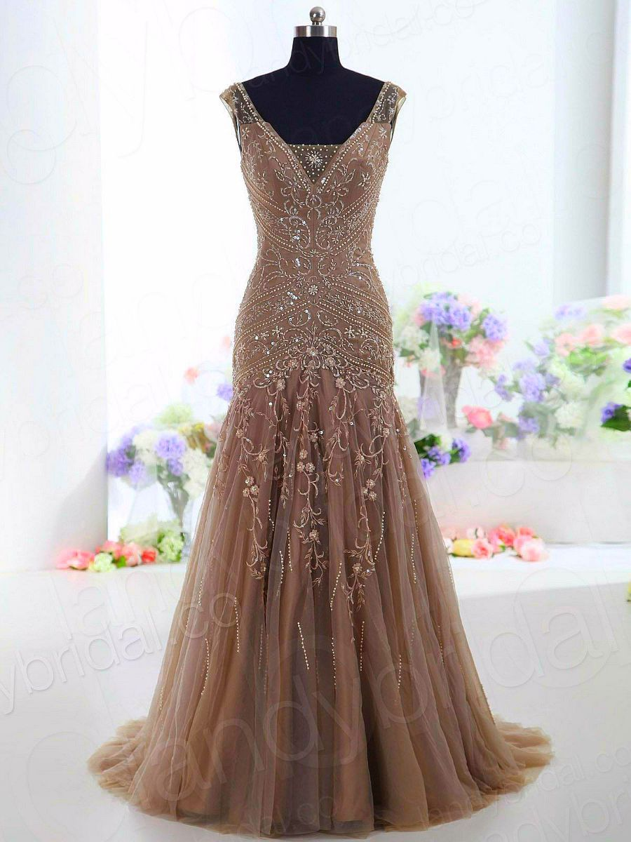 Beautiful tan gown. | Bags,Gowns, Dresses & Jewelry | Pinterest ...
