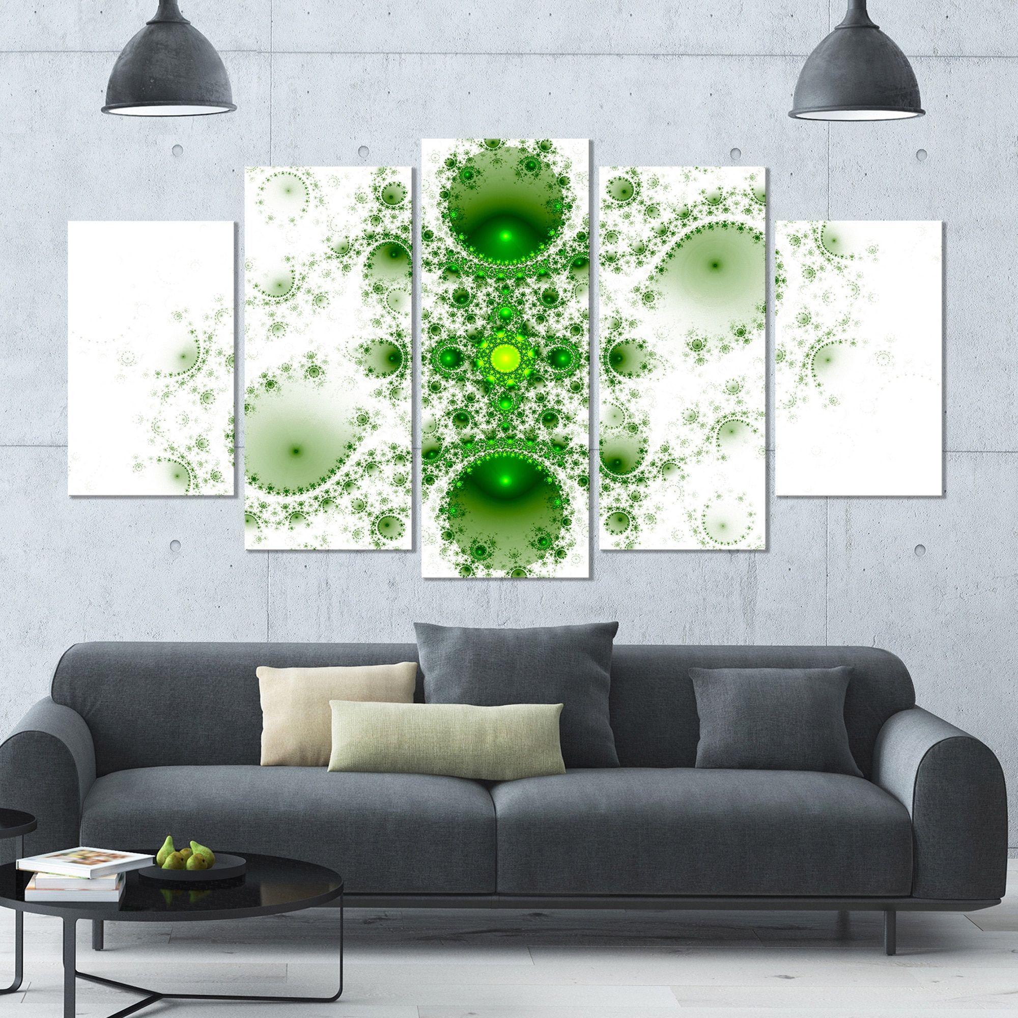 Designart 'Cabalistic Nature Fractal Art' Abstract Wall Art Canvas - 60x32 - 5 Panels Diamond Shape