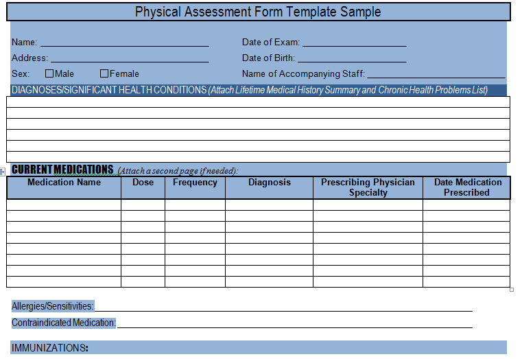 Get Physical Assessment Form Template Sample – Project Management ...
