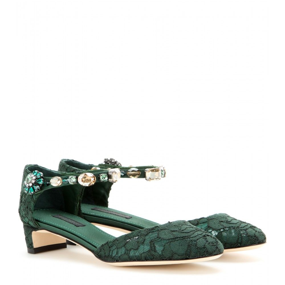 Embellished Lace Kitten Heel Sandals Dolce Gabbana Mytheresa Com Lace Pumps Flat Lace Up Shoes Kitten Heels Outfit