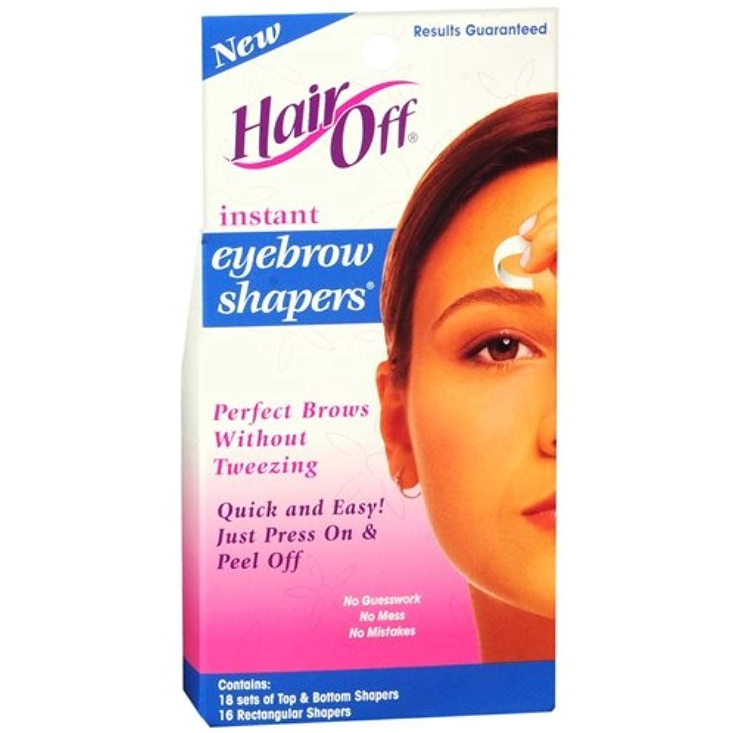 Hair Off Instant Eyebrow Shapers Cold Wax Strips 18's (Pack of 2